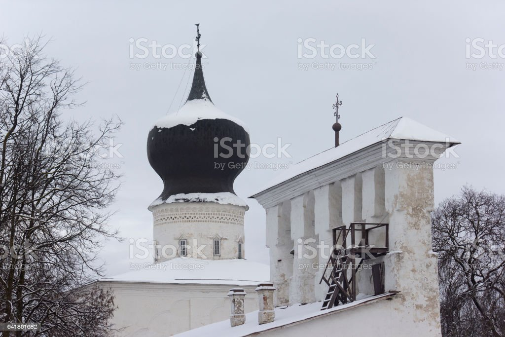 Church dome and bell tower in Pskov, Russia stock photo