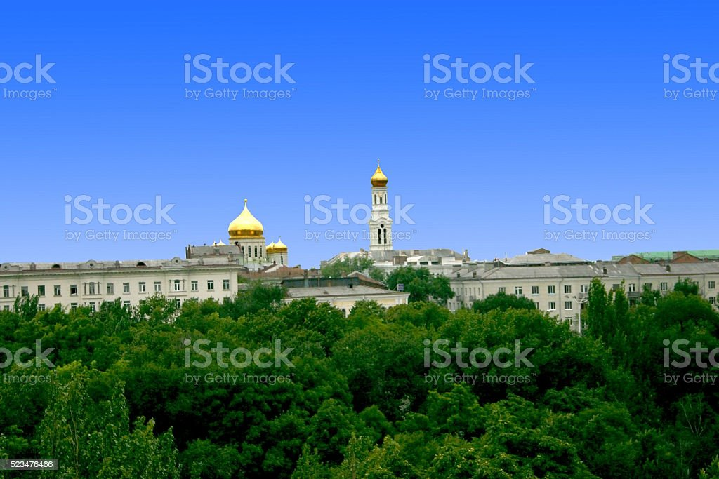 church dome on background blue sky stock photo