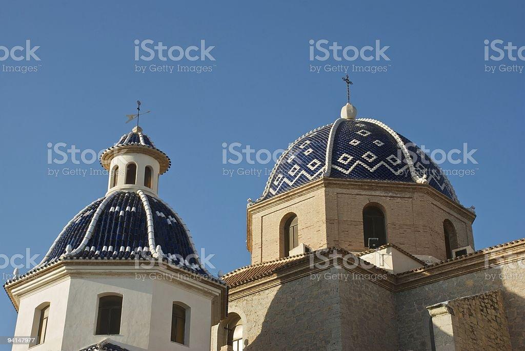 Church domes in Altea (Spain) stock photo