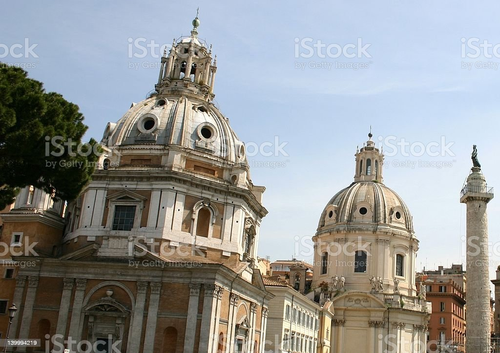Church Domes in Rome royalty-free stock photo