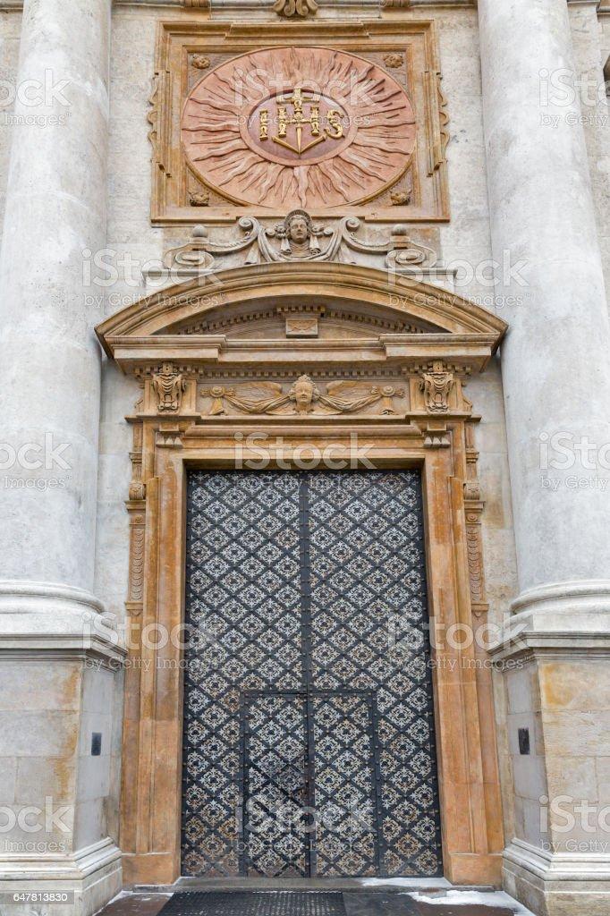 Church door of Holy Apostles Peter and Paul. Krakow, Poland. stock photo