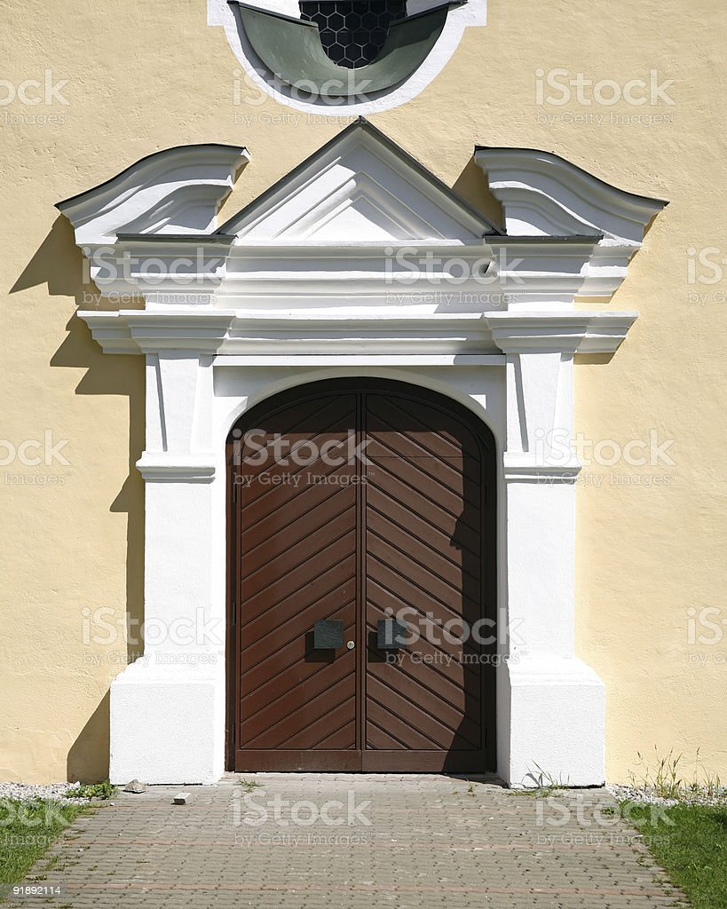 Church doors stock photo