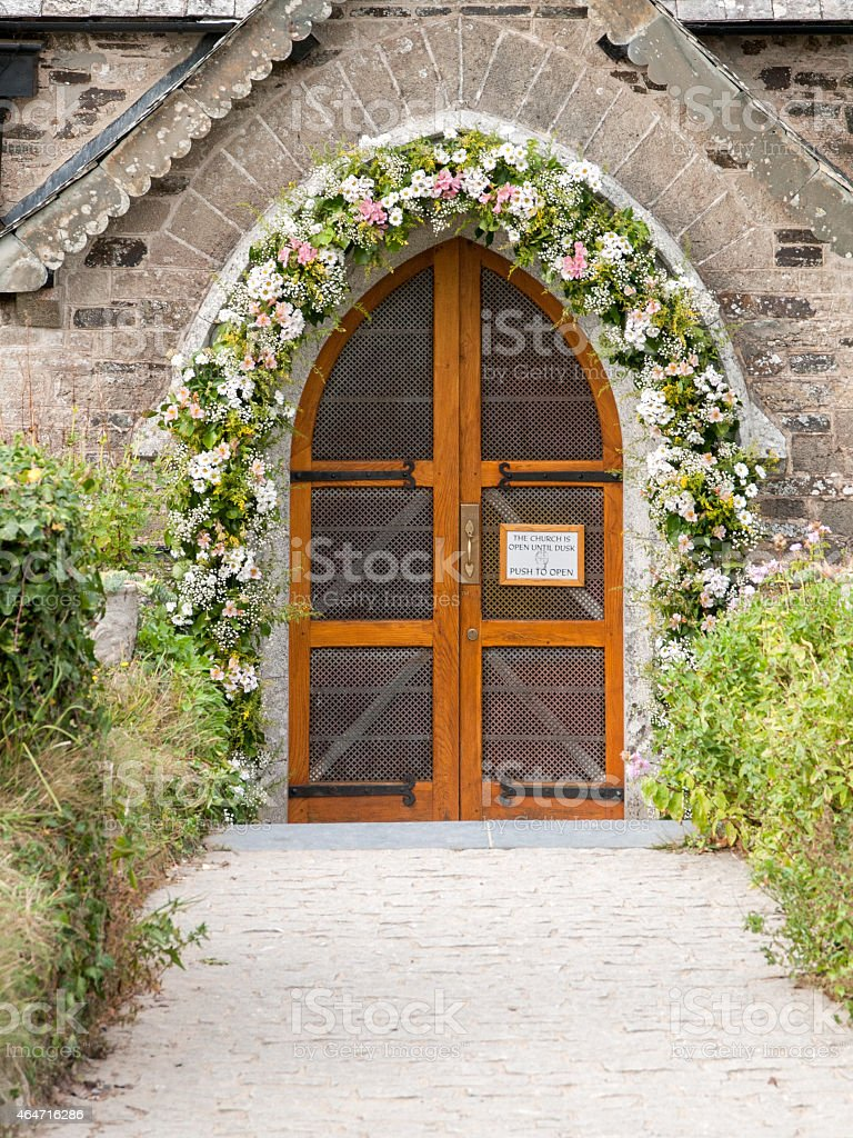 Church entrance of St. Enodoc in Cornwall royalty-free stock photo