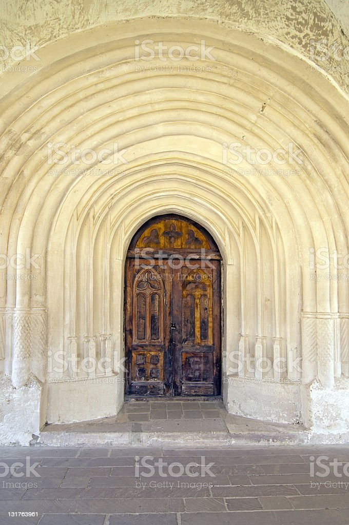 door and arches at church entrance inside Chotyn castle in Ukraine