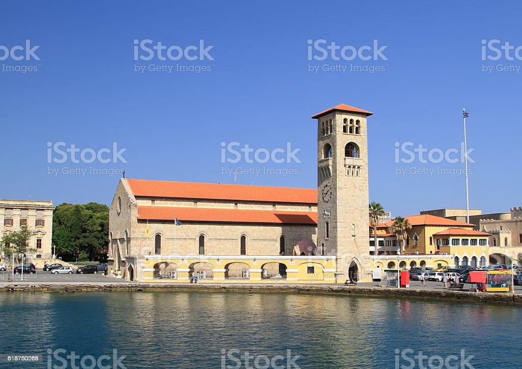 Church Evangelismos in the port city of Rhodes stock photo