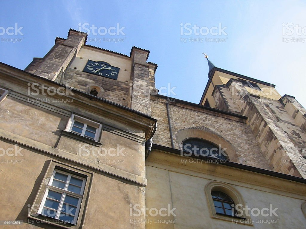 Church facade in Prague royalty-free stock photo
