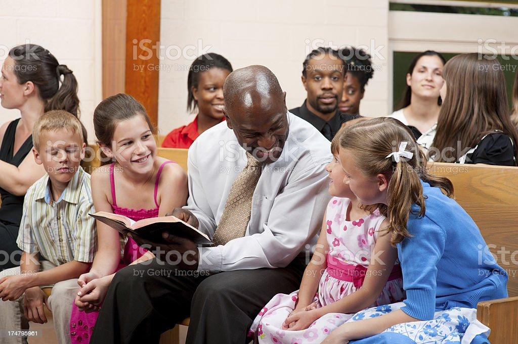 Church family gathering. stock photo