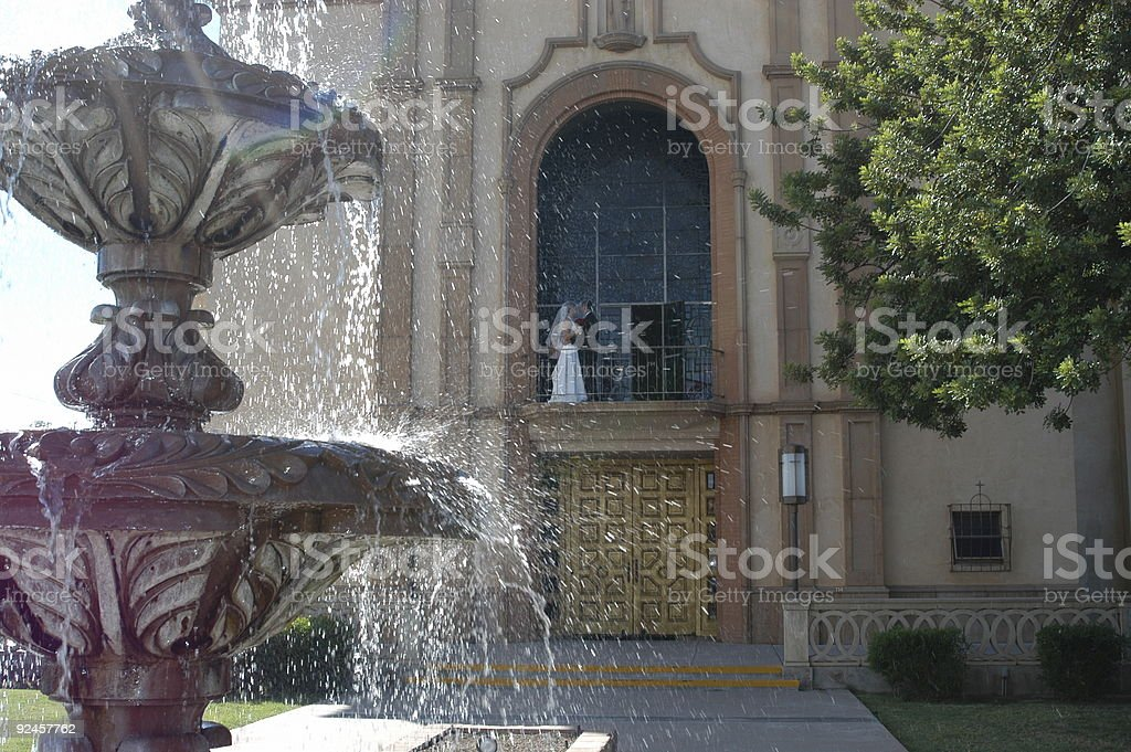 Church, Fountain, Bride, Groom royalty-free stock photo