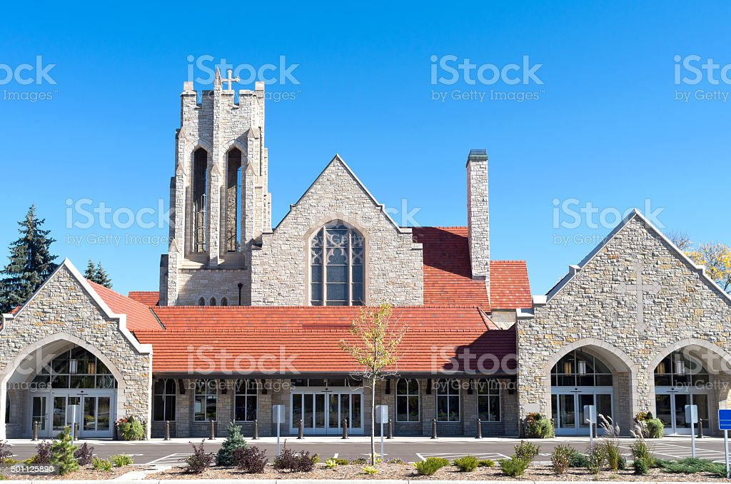 Church Front Entrances and Bell Tower stock photo