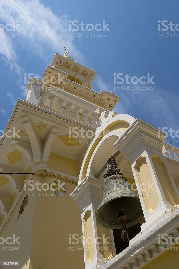 Church Gate with bell in Paleochora, Crete stock photo
