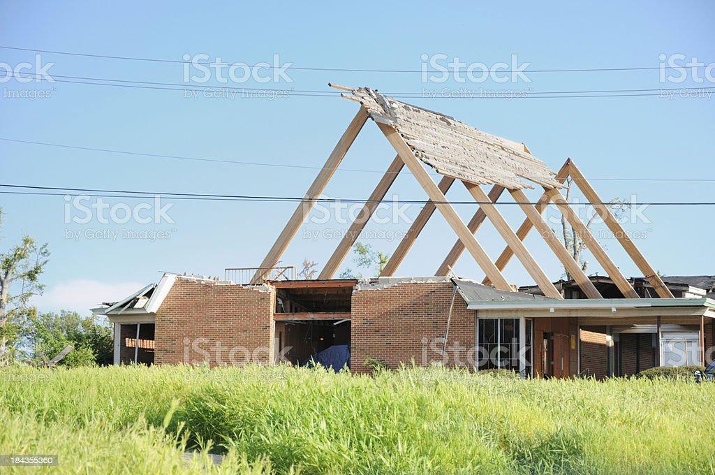 Church heavily damaged by tornado royalty-free stock photo