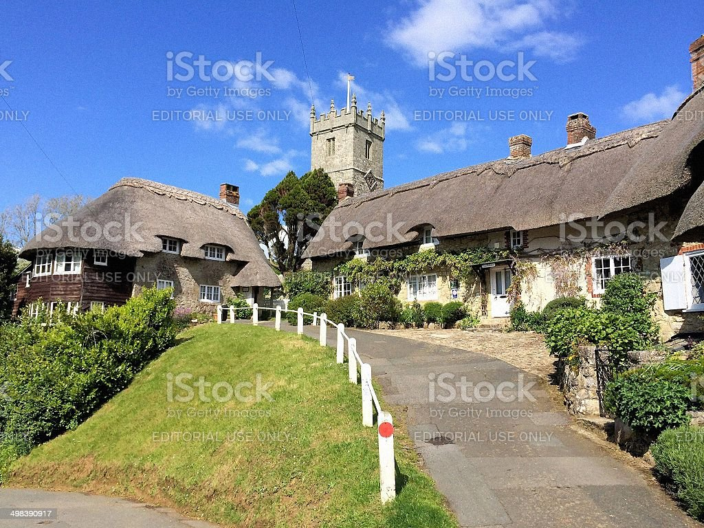 Church Hill in Godshill, Isle of Wight stock photo