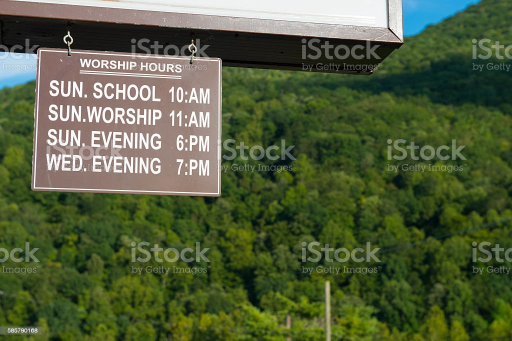 Church hours of worship in Appalachia stock photo