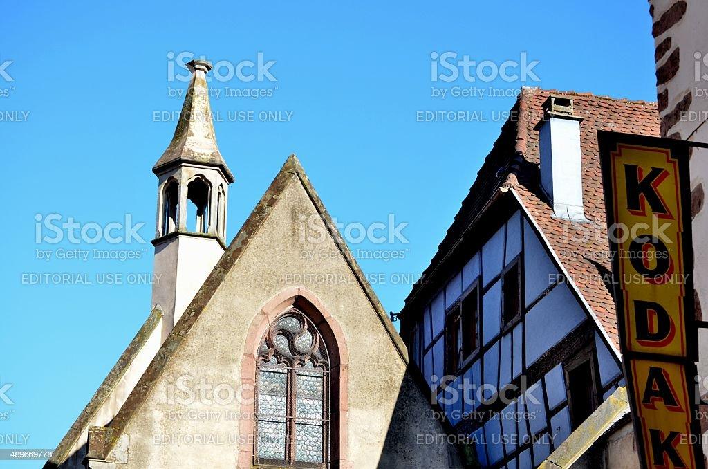 Church, House and Kodak Advertisement stock photo