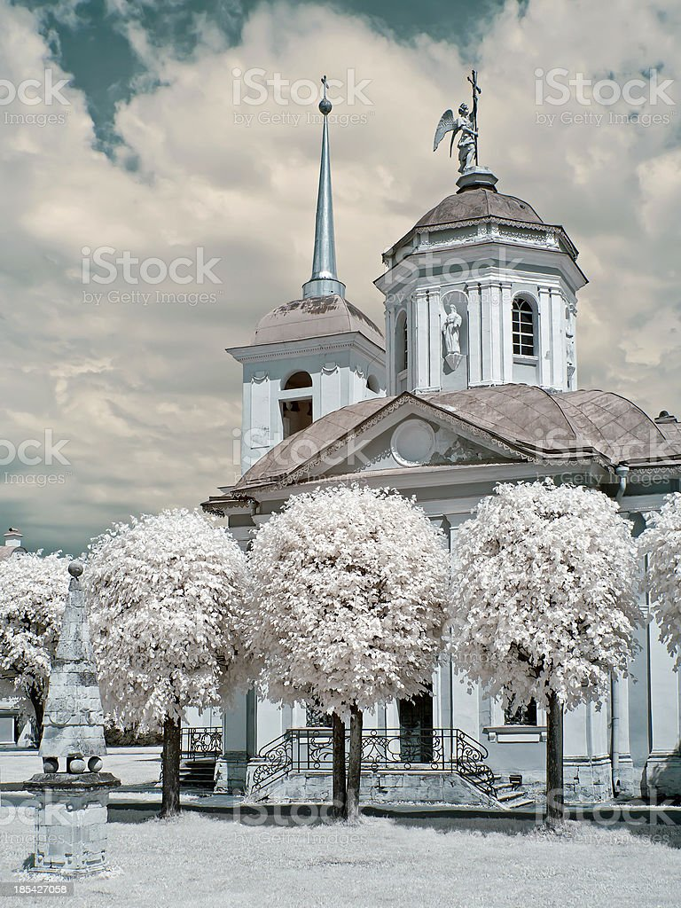 Church in a farmstead Kuskovo royalty-free stock photo