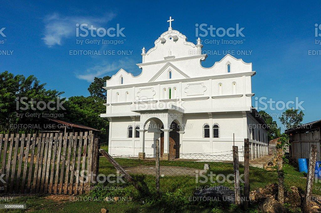 Church in a rural community in Guatemala stock photo