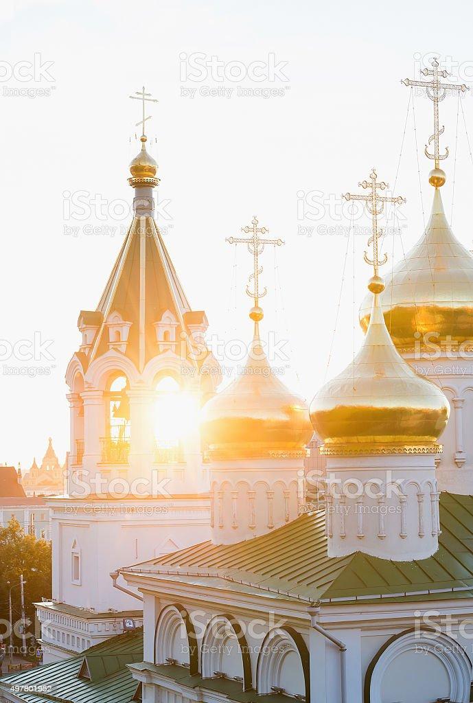 Church in a sunset rays, Nizhniy Novgorod, Russia stock photo