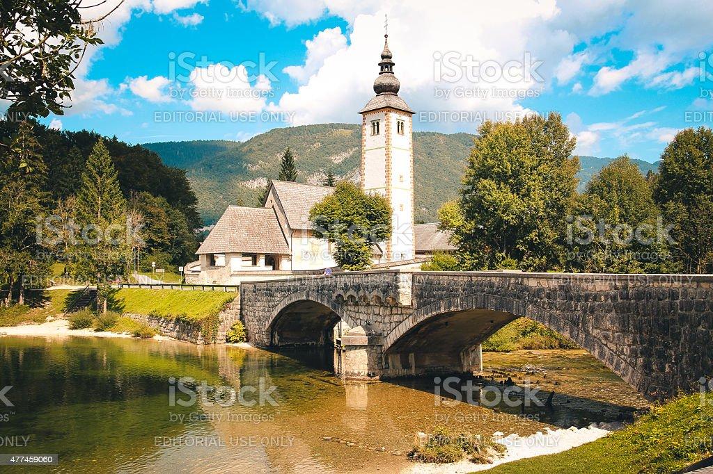 Church in Alps. stock photo