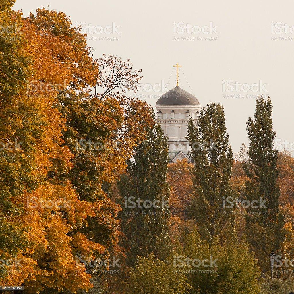 Church in autumn ancient manor stock photo