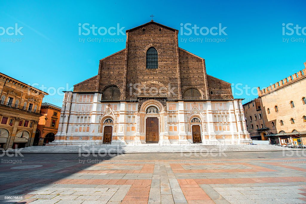 Church in Bologna city stock photo