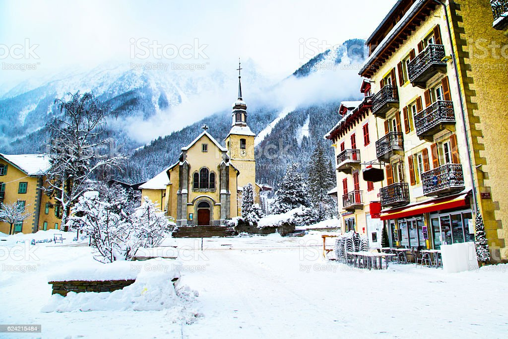 Church in Chamonix town, France, French Alps, part of street stock photo