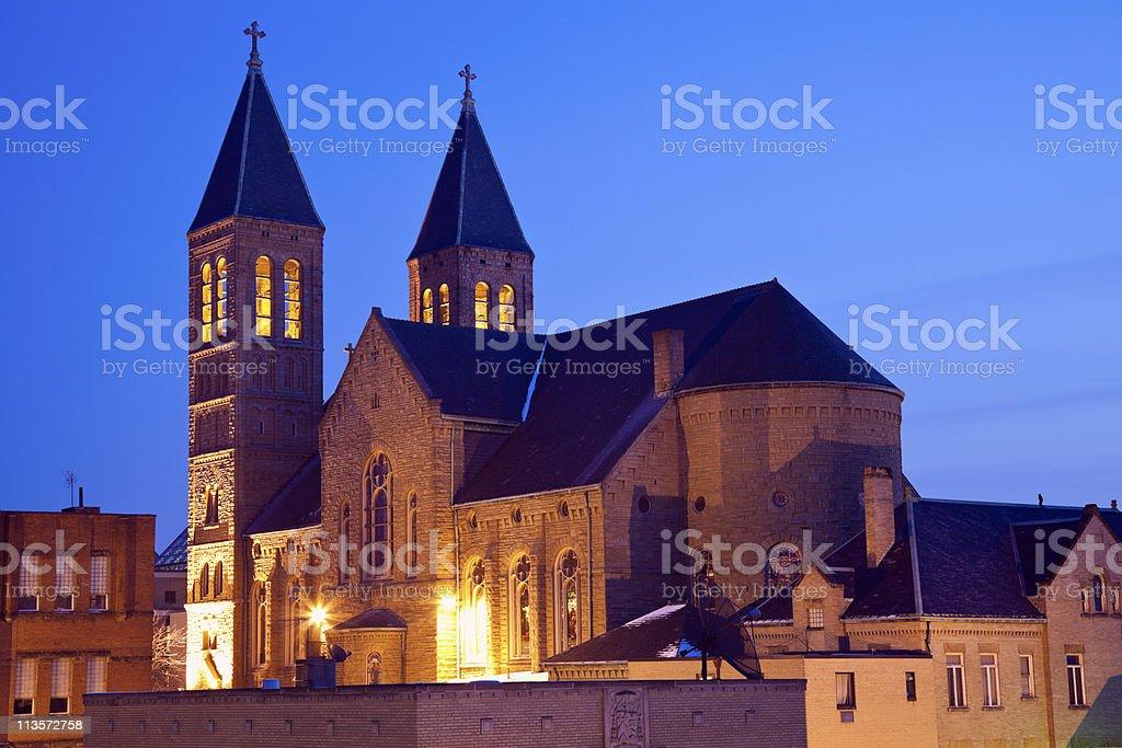 Church in downtown Akron stock photo