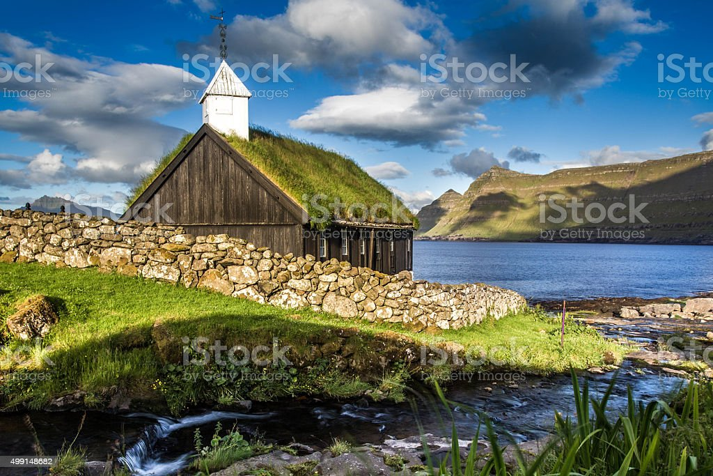 Church in Funningur, Faroe Islands stock photo