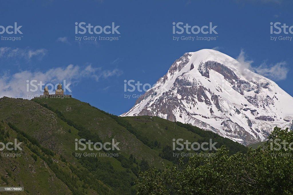 church in Georgia near Mount Kazbek royalty-free stock photo
