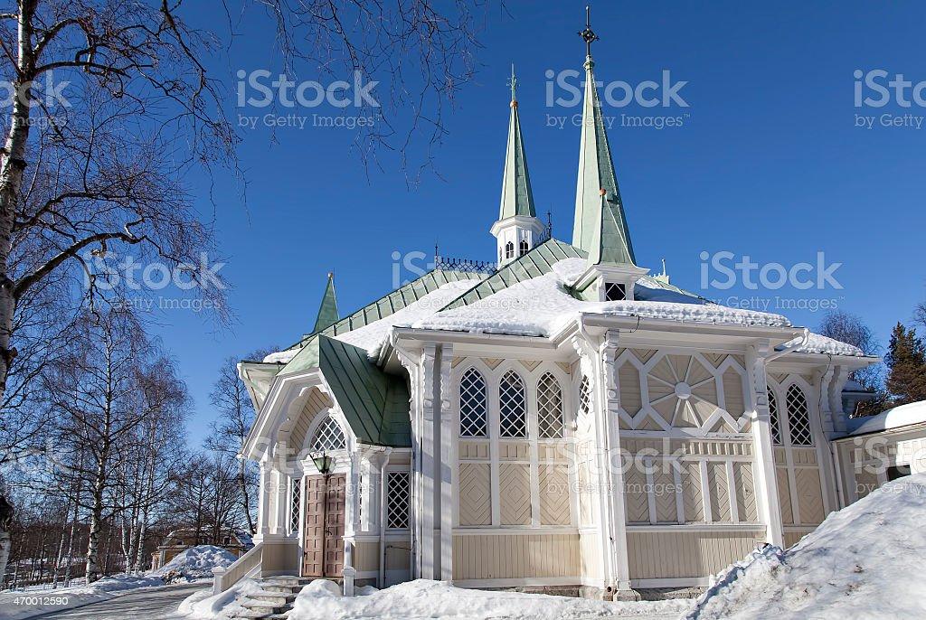 Church in Jokkmokk royalty-free stock photo