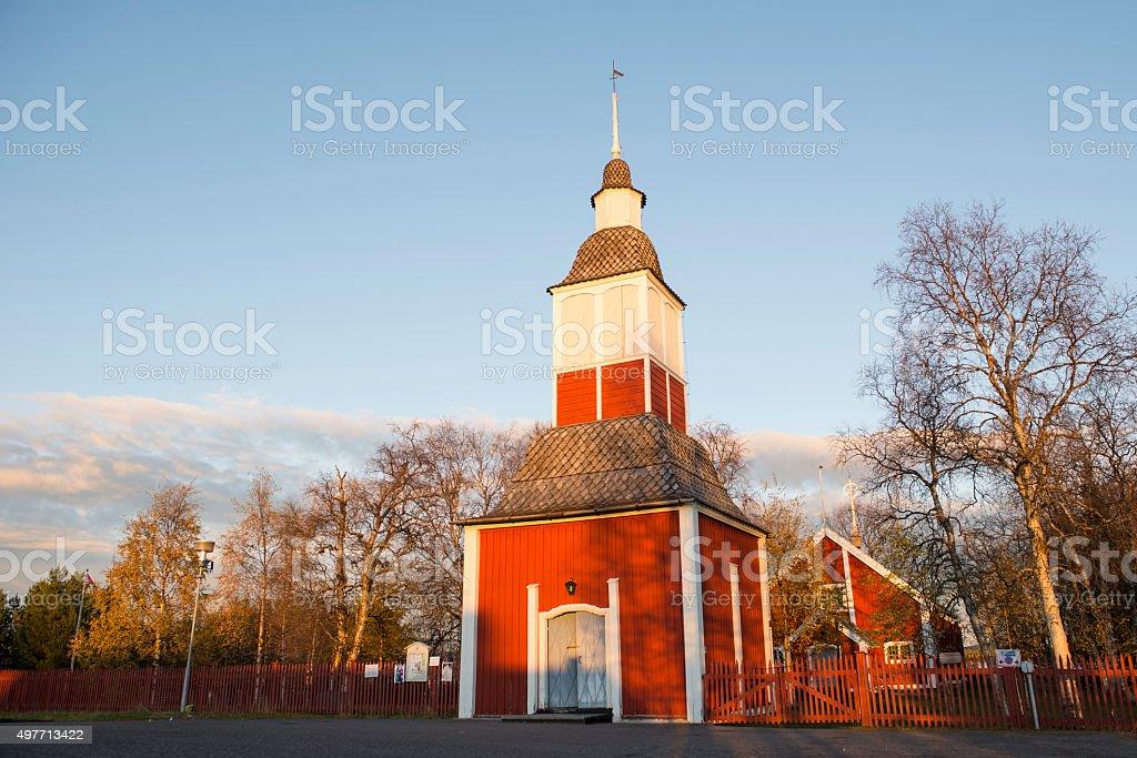 Church in Kiruna, Sweden, during a late summer evening. stock photo