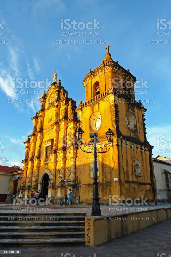 Church in Leon, Nicaragua, at Sunset stock photo