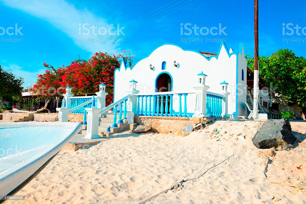 Church in Los Roques Island, Venezuela, during bright daylight stock photo