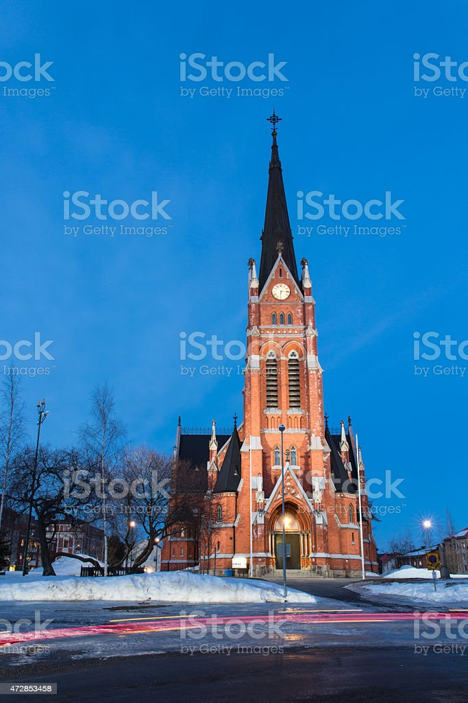 Church in Lulea stock photo