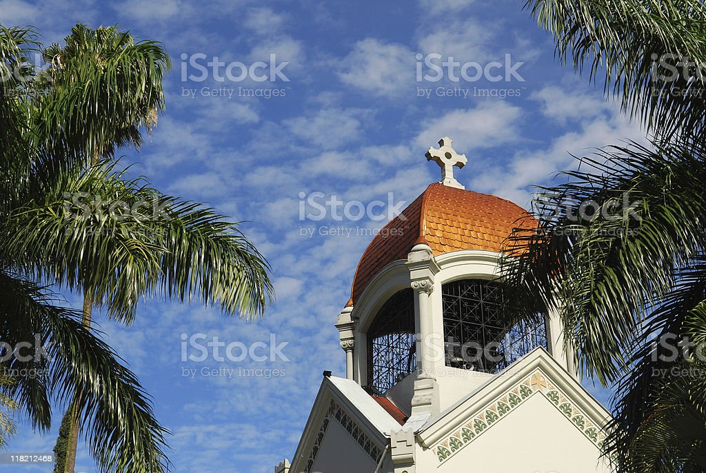 church surrounded by palm trees in Medellin, Colombia stock photo