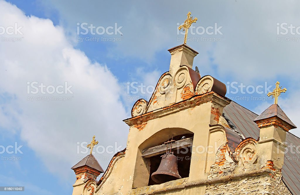 Church in Medzhibozh, Ukraine stock photo