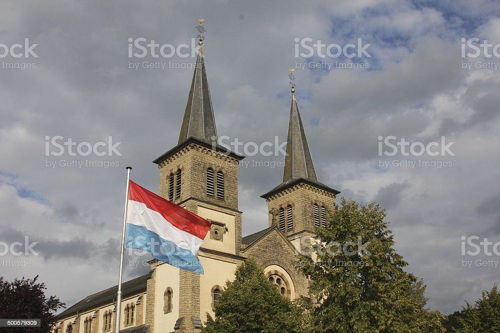 Church in Mertert, Luxembourg stock photo