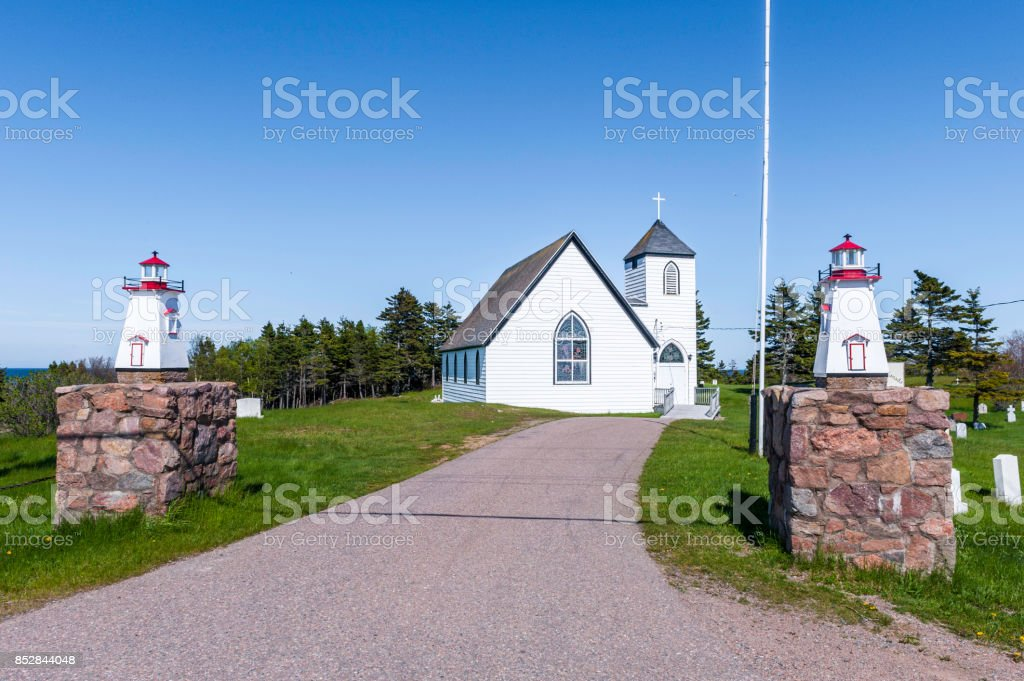 Church in Neils Harbour stock photo