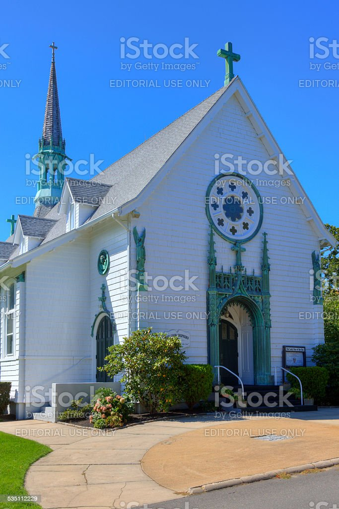 Church in Oak Bluffs, Martha's Vineyard, Massachusetts, USA. stock photo