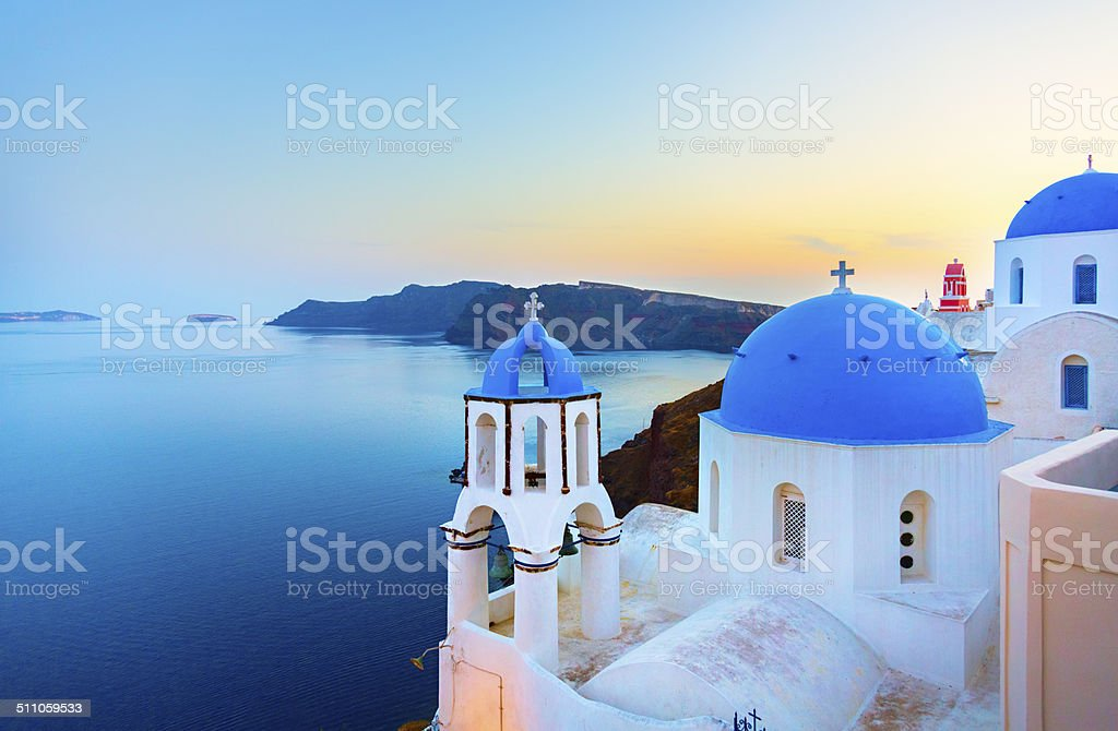 Church in Oia on Santorini island, Greece stock photo