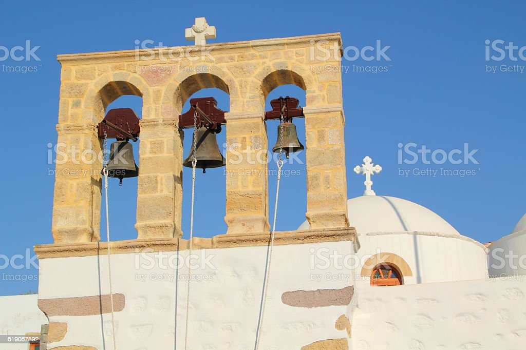 church in patmos stock photo