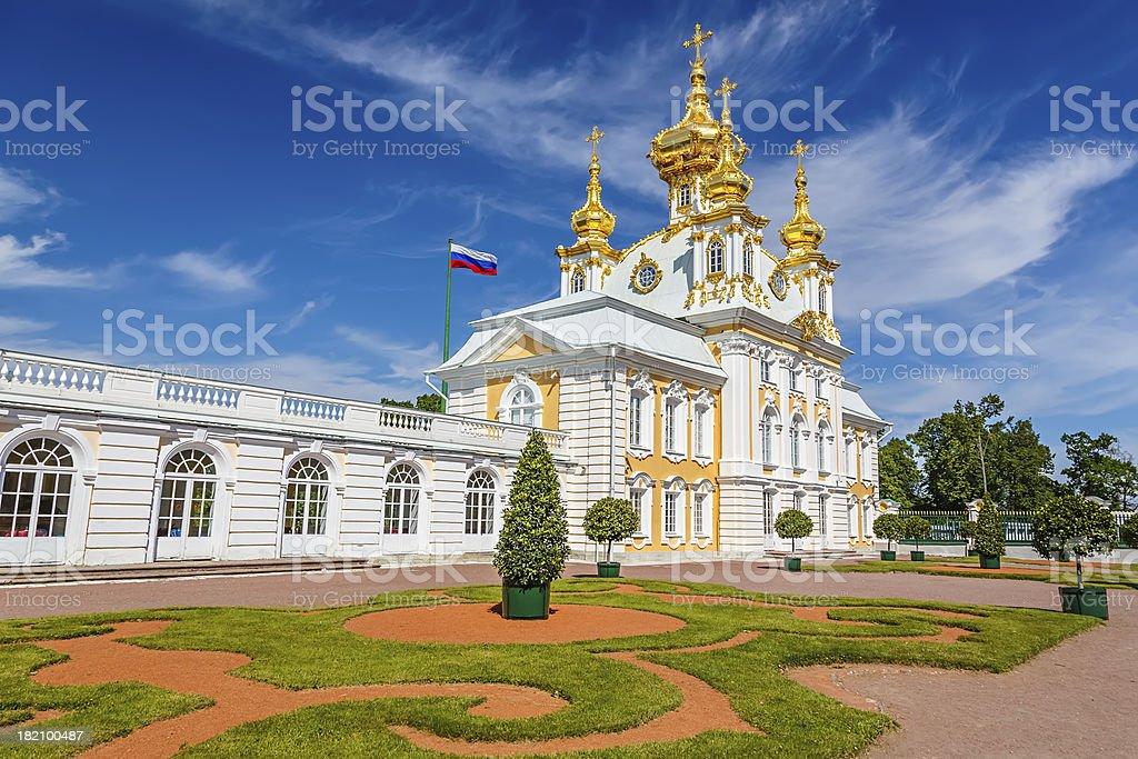 Church in Peterhof, St Petersburg royalty-free stock photo