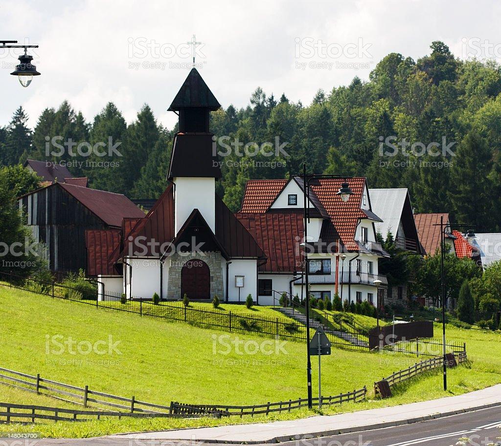 Church in Polish Village stock photo