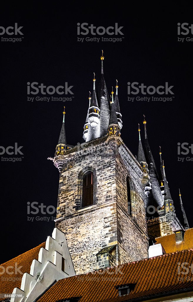 church in Prague at night stock photo