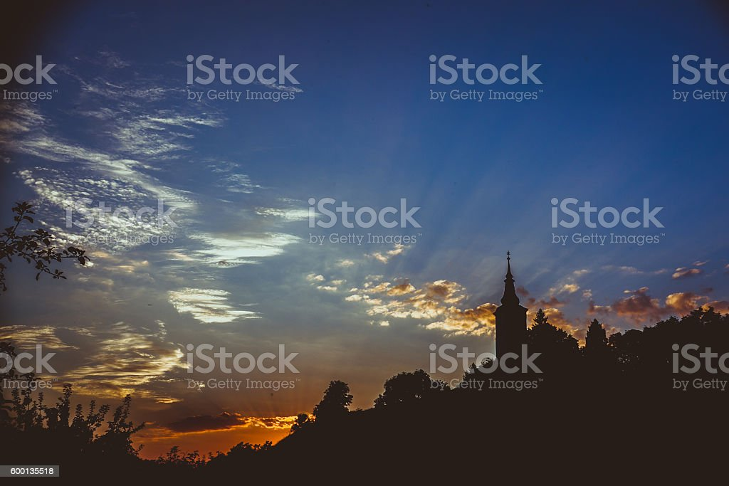 Church in right side stock photo