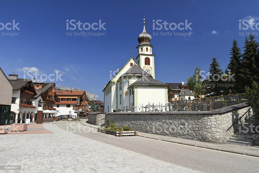 church in San Cassiano stock photo