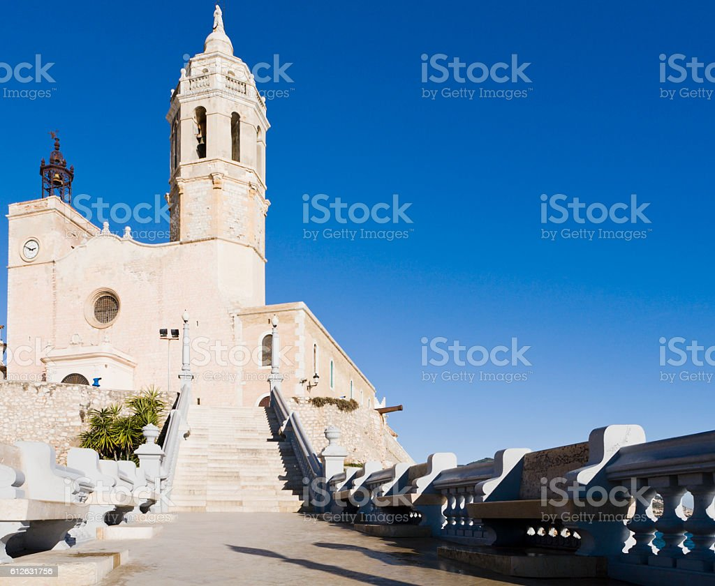 Church in Sitges Catalonia Spain stock photo