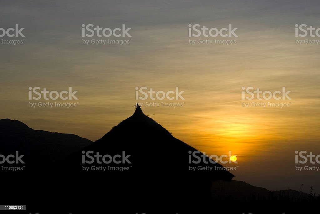Church in Southern Ethiopia at sunrise stock photo