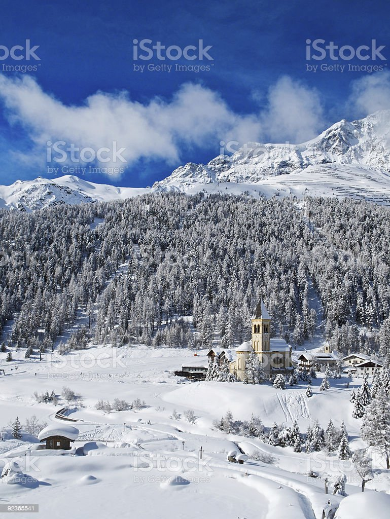 Church in Sulden (Italy) royalty-free stock photo