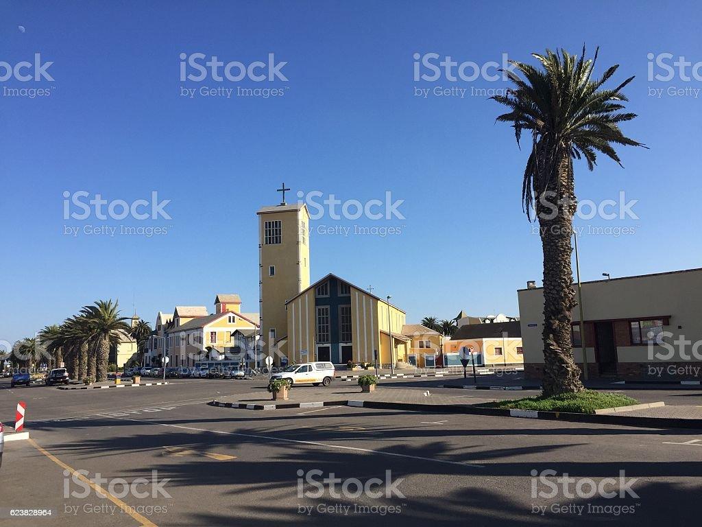 Church in Swakop stock photo