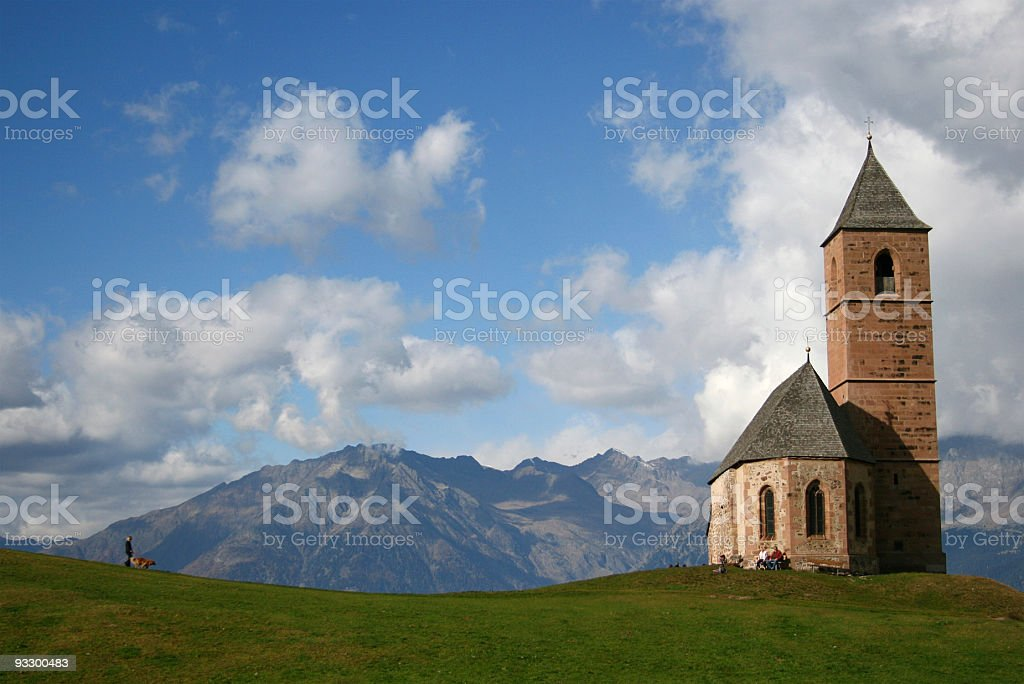 Church in the Alps stock photo